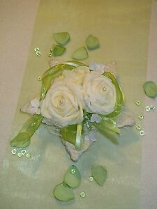 Tischdeko Tischdekoration Hochzeit Lotusblute Creme Grun Ebay