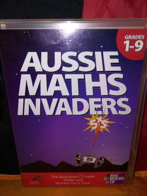 Aussie Maths Invaders: Grades 1-9 MAC/ PC CD-ROM Turrana Software