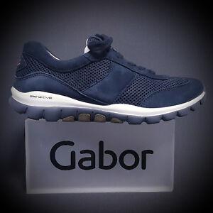 Details zu Gabor Comfort Rollingsoft Damen Sneaker Schnürschuhe 26.966.46 blau NEU