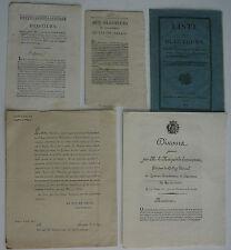 Pas de Calais. Liste des Electeurs. Saint Omer, Duc de Levis 1815.