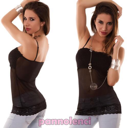 Damenpullover Top Unterhemd Spitze Verschleiert Muskelshirt Elasticized Neu