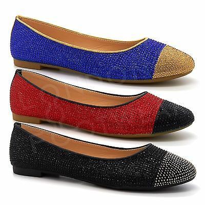 New Womens Diamante Ballet Flat Ladies Casual Ballerina Dolly Party Pumps Shoes
