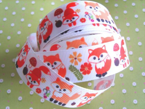 UK * 1 M X Cute Fox Woodland enfants gros-grain Ribbon Craft 22 mm Bow Gâteau 7//8/""