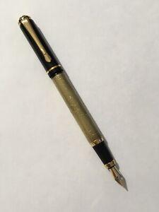 BAOER-507-BLACK-amp-GOLD-GOLD-TRIM-MEDIUM-NIB-FOUNTAIN-PEN-CONVERTER-UK-SELLER