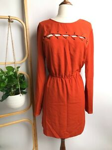 FIRST AND I Woman's Ficobalt Orange Long Sleeve Dress | Size L