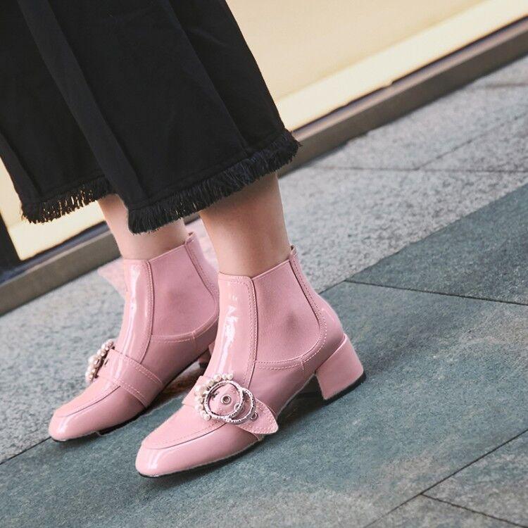 Hebilla de correa de diamantes de imitación de cuero De Dama Tacones De Bloque botas al Tobillo Zapatos De Invierno De Cremallera