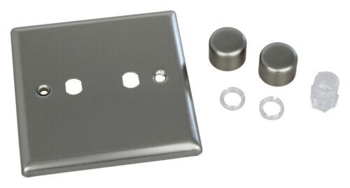 Varilight WN2 Classic Satin Chrome 2 Gang Dimmer Matrix Plate /& Knobs Only