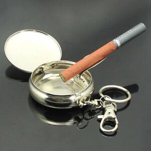 Mini-Edelstahl-Pocket-Zigarre-Rauchen-Zigarette-Aschenbecher-Halter-mit-Schluesselanhaenger