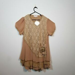 New-Simply-Couture-Retro-Style-Khaki-Lace-Top-Size-XL-NWT