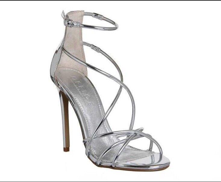 Office Angel Tubular Strap Sandals Silber Mirror High Heels Größe 6 (39)