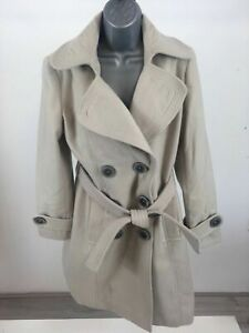 WOMENS-SOON-BEIGE-SOFT-TOUCH-LONG-TRENCH-JACKET-SIZE-UK-12