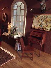 Dolls House Miniature 1:12th Scale Walnut Writing Bureau/Desk and Chair