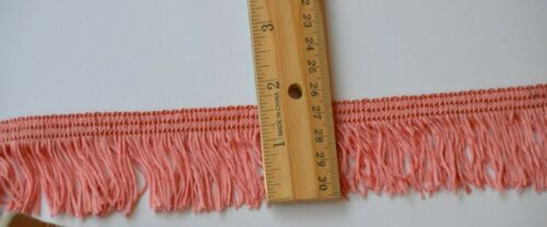 "Flamingo Pink 1.5"" fringe upholstery pillow trim made in Spain Vtg New Old Stock"