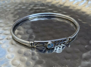 Vintage-925-Sterling-Silver-Bangle-Rennie-Macintosh-Scottish-Style-Topaz-Gem