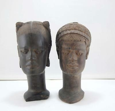 Hand Carved Wooden Statue Stick Figures Lot of 2 African Tribal Wood Carving Vtg