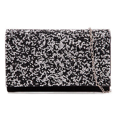 Stylish Black Glitter Sparkle Wedding Ladies Party Evening Clutch Hand Bag Purse
