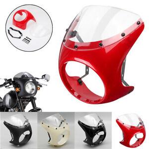 Universal-7-039-039-Faro-Carenatura-Schermo-Parabrezza-Per-Harley-Moto-Cafe-Racer