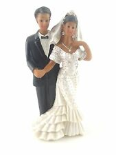 "African American Bride and Groom Cake Top Figurine 5"" tall (bride on his left)"