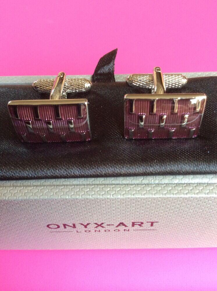 **REDUCED** Rectangle Purple Shape Cufflinks by Onyx Art CK80