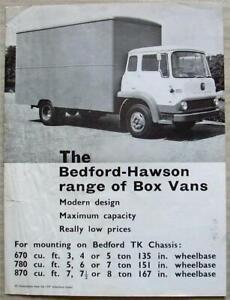 BEDFORD TK HAWSON BOX VANS Sales Specification Leaflet May 1963 #B906/5/63