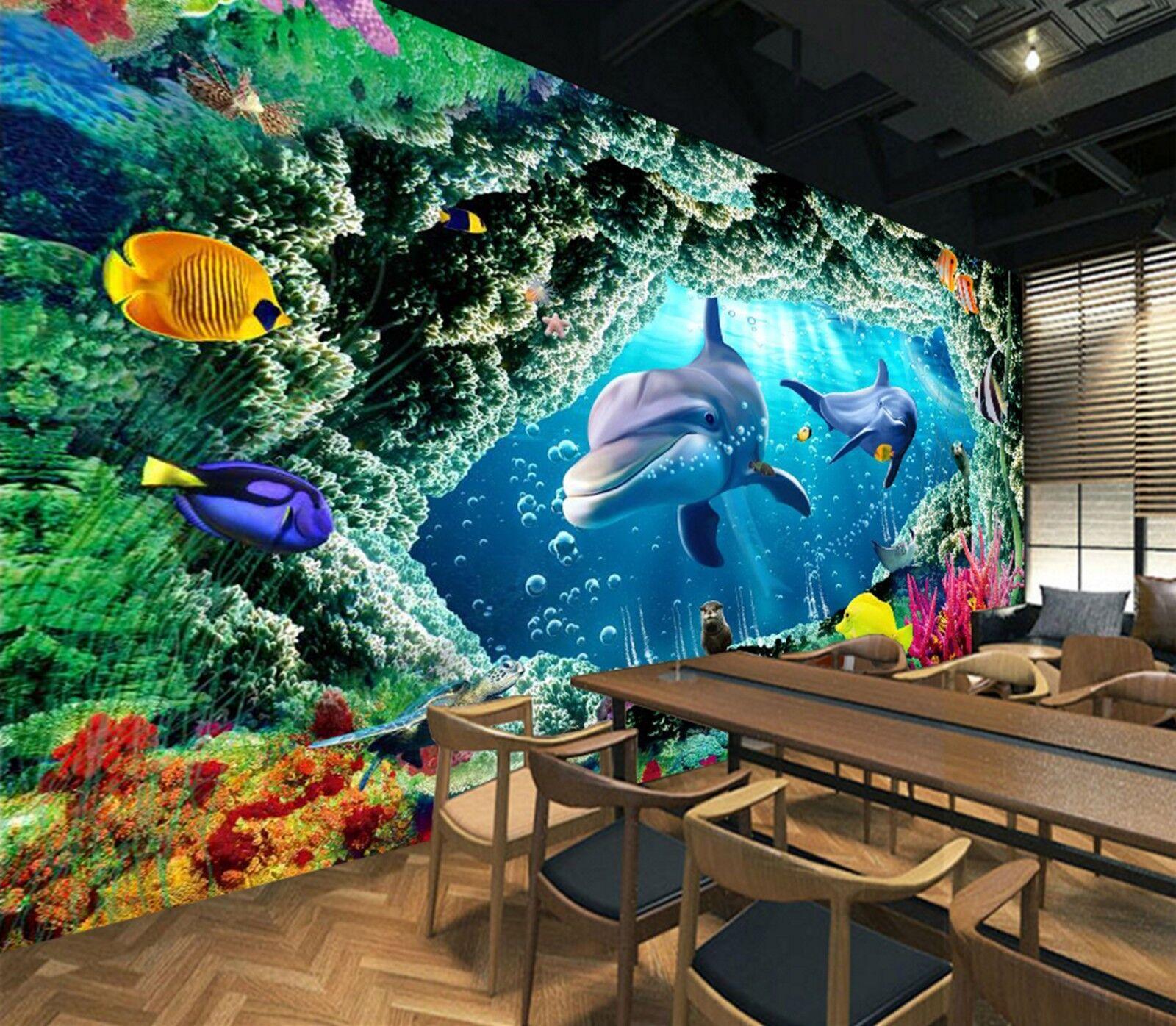 3D Riff Meer Delphin 8095 Tapete Wandgemälde Tapeten Bild Familie DE Lemon