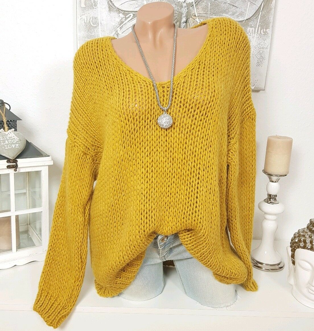 Cuddle Oversize Sweater Chunky Knitted Jumper 36 38 40 Blogger Winter Mustard
