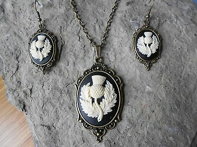 Scottish Thistle Matching Earrings and Pendant