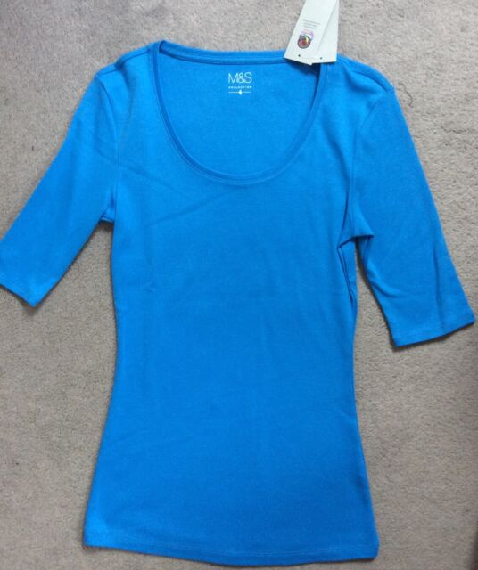 M&S BRIGHT BLUE I/2 SLEEVE T-SHIRT WITH SCOOP NECKLINE- SIZE 8 - BNWT