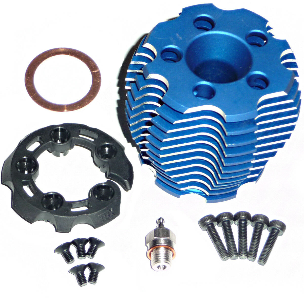 NEW Traxxas Revo TRX 3.3 ALUMINUM COOLING HEAD, PredECTOR, GLOW PLUG, & SCREWS