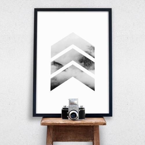 Chevron Mountain Print Scandi Minimalist Wall Art Poster Modern Scandinavian