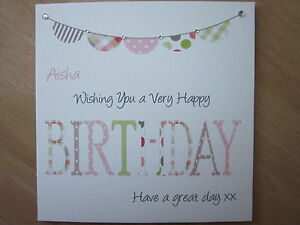 Personalised-Handmade-Female-Bunting-Birthday-Card-40th-50th-60th-70th-Any-Age