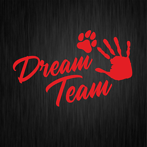 Dream-Team-Hundesport-Agility-Pfote-Dog-Rot-Auto-Vinyl-Decal-Sticker-Aufkleber