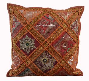 Indian-Bohemian-Sofa-Cushion-Cover-Home-Decor-Handmade-16X16-zari-Cotton-Hippie