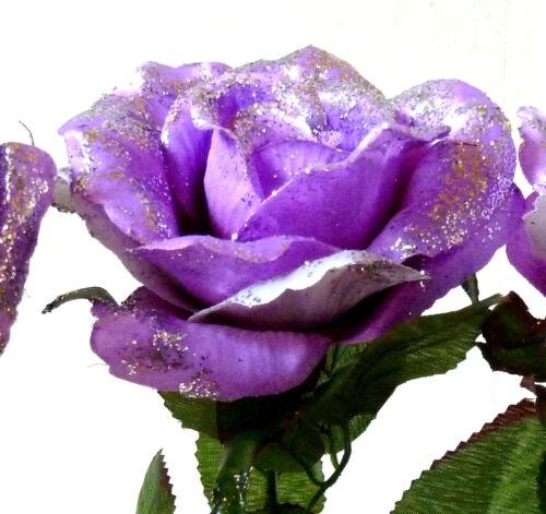 10 x Rosen flieder mit Glitter  //offene Rosen Seidenblumen