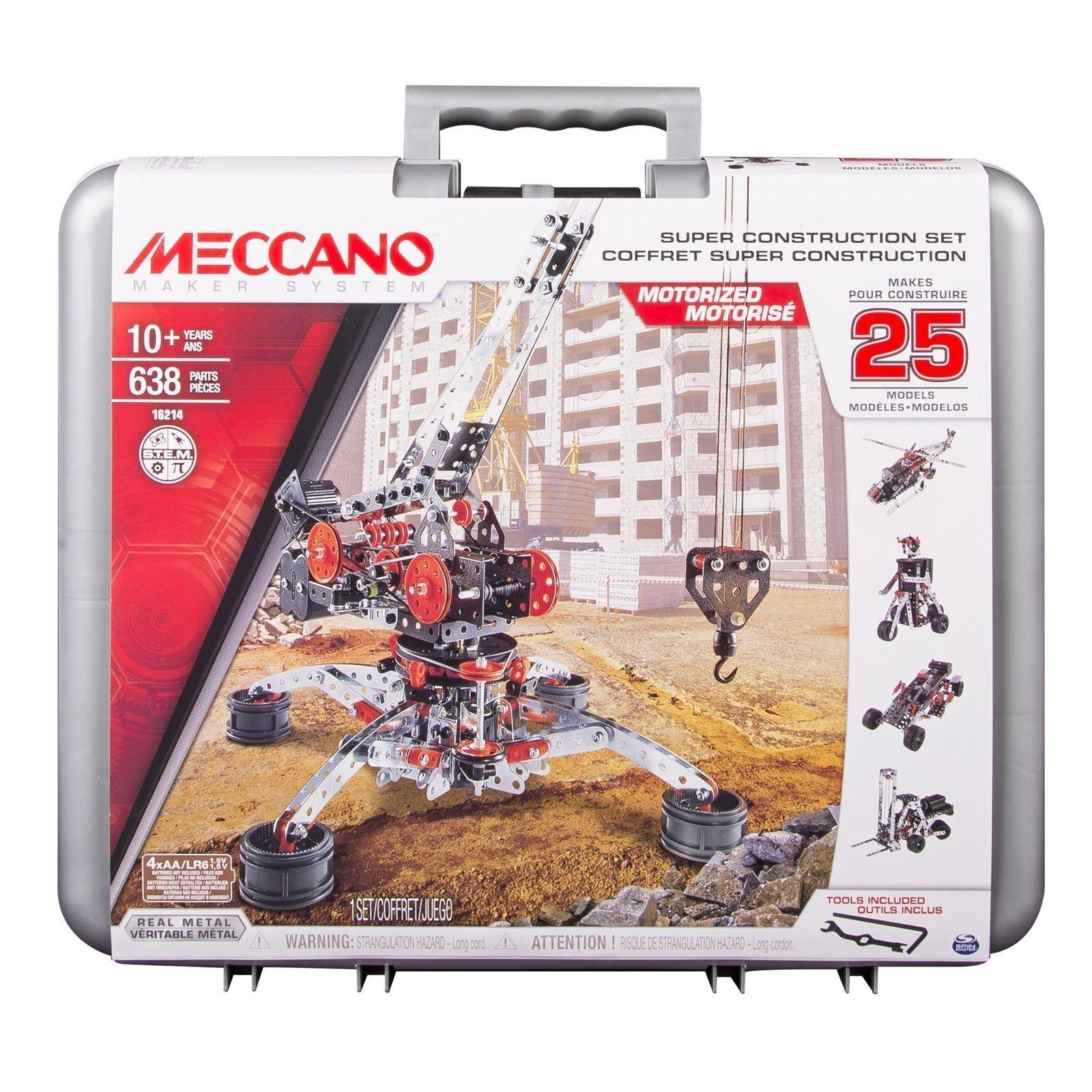 Meccano Super Construction Set, 25 Motorized Model Building Set, 638 Pieces Toy