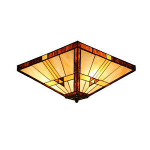 Tiffany Mission Style Flush Mount Ceiling Light Amber Stained Glass Bedroom Lamp Ebay