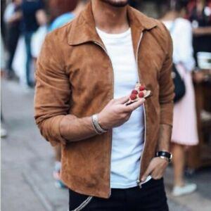 Mens Fashion Faux Suede Jacket Warm Coat Spring Outwear Lapel Cardigan Overcoat