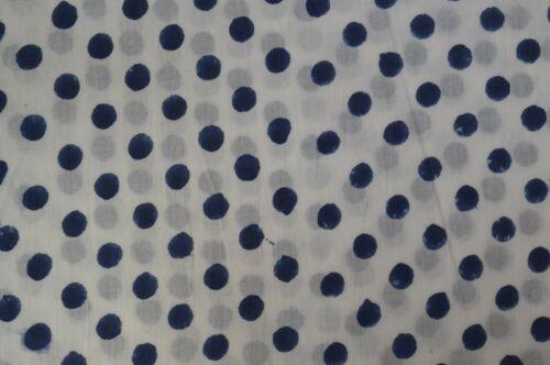 3 Yard Indian Hand block Polka Dot Fabric Cotton Running Craft Fabric @