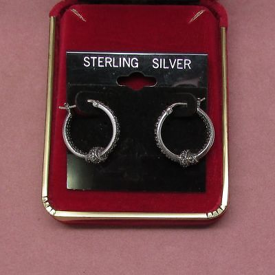 """925 sterling silver post domed hoop earrings with smooth finish 3//4/"""" diameter"""