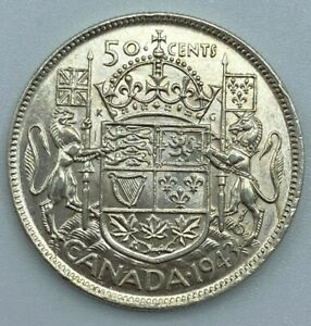 1943-Canadian-50-Cent-Half-Dollar-800-Silver-Lustre-Remains-Die-Cracks-MP182