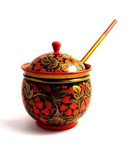 Khohloma Art Russian Wooden Decorative XXL Bowl w/Lid and Spoon