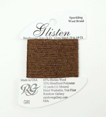 GLISTEN Sparkling Braid #80 Cocoa Brown Needlepoint Thread by Rainbow Gallery
