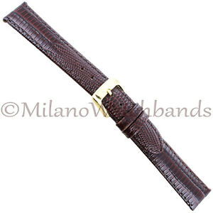 16mm-Speidel-Brown-Padded-Gator-Matte-Genuine-Leather-Stitched-Mens-Band-924-330