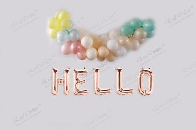 """HELLO BABY 16/"""" Balloons Foil Rose Gold Silver Letters Banner Garland Party Decor"""