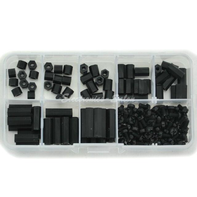 M3 Nylon Black Hex F-F Spacers/ Screws/ Nuts Assorted Kit, Standoff