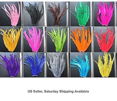 "25pc 16-18"" Long Bleach-Dyed Rooster COQUE tail Feathers16+ colors to pick from"