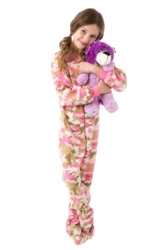 Pies grandes Pijamas-Kids Pink Camo Polar de patas pijamas