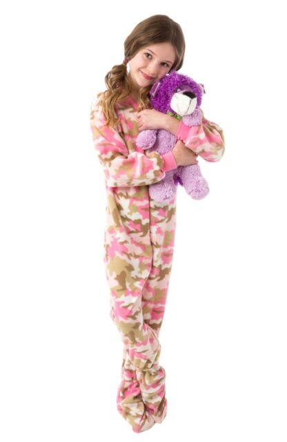 Buy Big Feet PJs Big Girls Pink Camo Kids Footed Pajamas Onesie ... ef6c092af