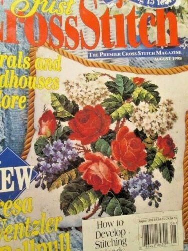 Just Cross Stitch August 1998 Magazine-Wentzler Birdhouse Bellpull//Eagle//Lavende