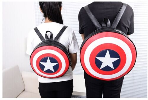 Fashion Captain American Shield Backpack Comics School Book Bag Unisex Two Size